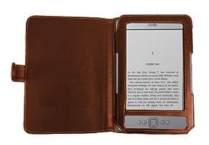 Navitech - Housse à rabat en simili cuir marron & Liseuse/ lampe de lecture avec clip de fixation pour le nouveau Kindle, plus léger et petit, Wi-Fi, 6 pouces E Ink Amazon 4G Version E-reader tablette (lancement Octobre 2011)