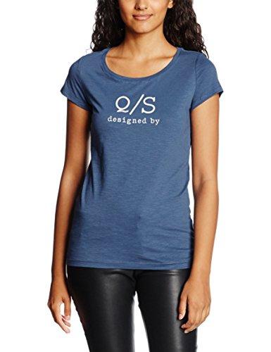 s.Oliver Denim Mit Logoprint 41.607.32.6641, T-Shirt a maniche corte donna, colore Blu (smoky blue melange placed 57D0), taglia Medium