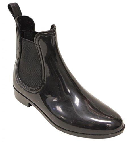 Easos Geal STW011 Women's waterproof shinny chelsea elastic panels Rain boots Black 9