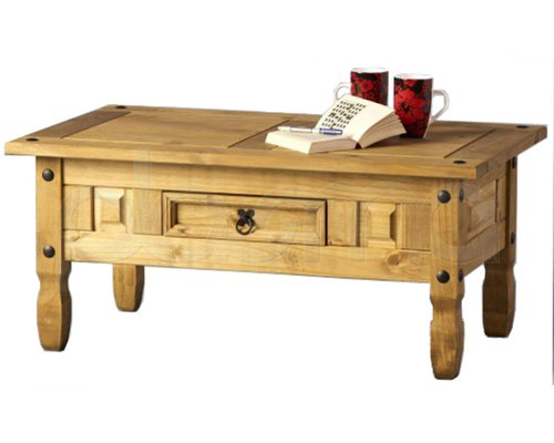Corona Mexican Style Pine Coffee Table with Drawer