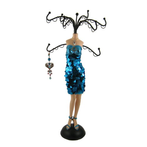 Cocktail Dress Jewelry Stand Blue Sequins 14.5