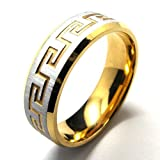 Konov Jewellery Classic Unisex Stainless Steel Band Ring, Colour Gold Silver, Size R (with Gift Bag)