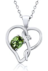 0.51 Ct Oval Green Tourmaline White Created Sapphire 925 Sterling Silver Pendant