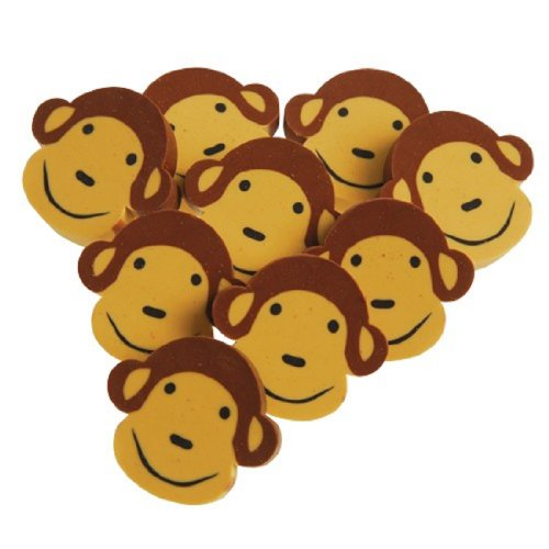 Set Of 24 Assorted Monkey Face Theme Erasers