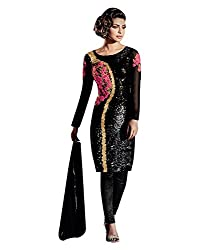 Rudra Textile Women's Black Georgette Bollywood Suit