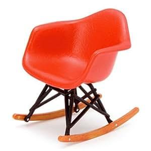 dollhouse miniature 1950 red rocker eames chair rec023r