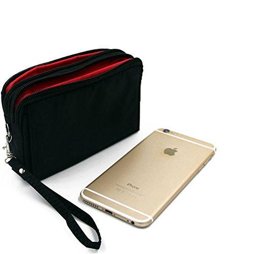 Confezione da cintura per Sony, Samsung, Huawei, Apple, ZTE, Medion, UHAPPY, Haier, Leagoo, Cubot, TIMMY, odys, Blackview, Uhans, il nero. Travel Bag, copertura Custodia da viaggio con protezione anti-furto, body bag, borsa protettiva, borsa da viaggio, un sacco di spazio di archiviazione, grandi scomparti per armi sacchetto protettivo per i pantaloni / cintura. | Clip da cintura tasca esterna sacchetto esterno di caso escursionismo campeggio trekking a prevenire il furto / rapina