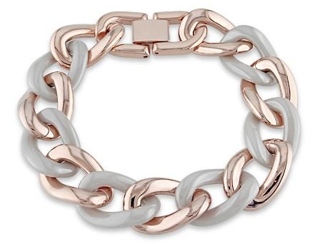 Pink Plated Stainless Steel Grey Ceramic Link Bracelet (7.5in)