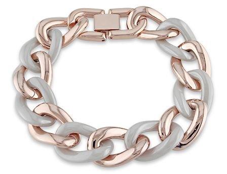 Pink Plated Stainless Steel Grey Ceramic Link Bracelet (7.5in)