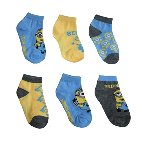 Despicable Me Toddler Little Boys' Minions Low Cut Socks - 6 Pair 2T-4T