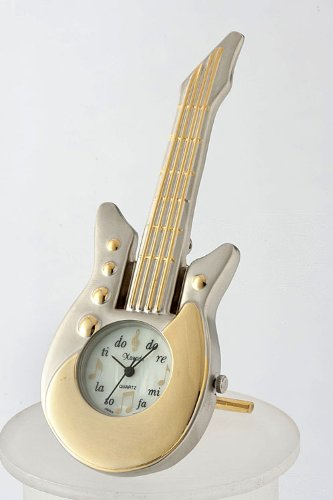 Baubles & Co Electric Guitar Desk Clock (Matted Gold)