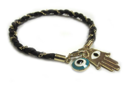 Braided Brown Cord Bracelet with Golden Hamsa/Hand of Fatima and Turquoise Evil Eye Charm