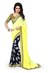 Drapme Floral Print Yellow Georgette Saree with Designer Printed Blouse