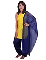 Womens Cottage Navy Blue Cotton Jacquard Patiala & Chiffon Dupatta Set