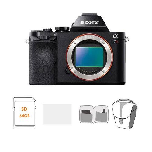 """Sony Alpha A7R Mirrorless Digital Camera, Full Frame 36Mp, 2.4 Million - Bundle With Lowepro Tlz-20 Holster Case, 64Gb Uhs-1 Class 10 Hs Card, Cleaning Kit, Lcd Screen Protector 3"""" Glass"""