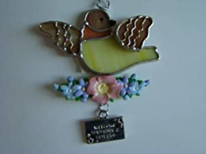 Welcome Sunshine and Friends Summer Bird Stained Glass Suncatcher Ornament (EA2010)