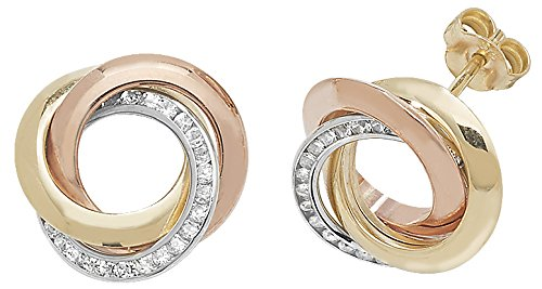 9ct Gold Earring Studs Cubic Zirconia