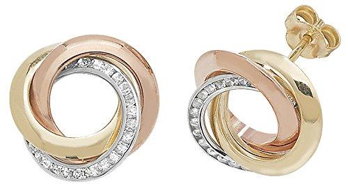 9ct Gold Earring Studs Cubic Zirconia