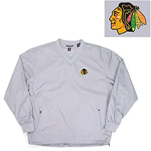Antigua Chicago Blackhawks National Pullover Windshirt - Silver XX Large