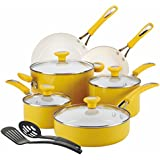 SilverStone Ceramic CXi Nonstick 12-Piece Cookware Set, Mango Yellow