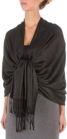 "78 x 28"" Eco-Friendly Bamboo Rayon Soft Solid Pashmina Shawl / Wrap / Stole - Black"""