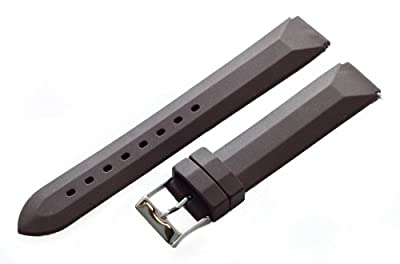 Brown - 22mm Classic Rubber Watch Band Strap Fits Philip Stein Chronograph Watches by Clockwork Synergy, LLC