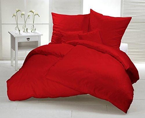 Warme Winter Biber-Bettwäsche. Einfarbiges modernes Design aus 100% Baumwolle mit Reißverschluss. Kuschelige Bettwäsche-Sets für die kalte Jahreszeit. (135x200 cm + 1x (80x80 cm), Rot) thumbnail
