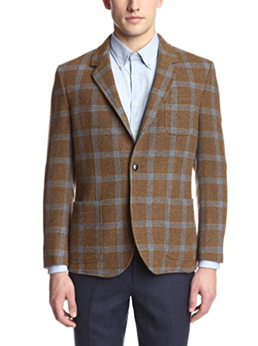 Brooklyn Tailors Men's Unstructured Over Check Tweed Sportcoat