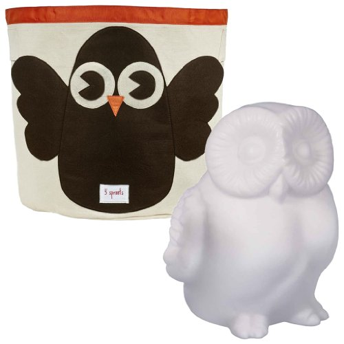 3 Sprouts Storage Bin With Led Nightlight, Owl