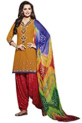 NAAIDAAKHO ORANGE & MAROON PURE COTTON EMBROIDERED DRESS MATERIAL