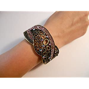 Vintage Fashion Jewelry Retro Crystal Bangle (Assorted Colors)