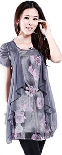 YJLY Women's Silk Floral Printed Long Top Or Short Dress Large Gray