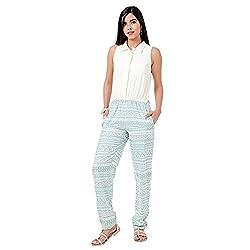 Eavan Women's Casual Wear White-Sky Blue Printed Jumpsuit Polyester Jumpsuit