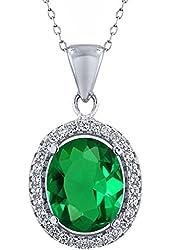 4.03 Ct Oval Green Nano Emerald 925 Sterling Silver Pendant