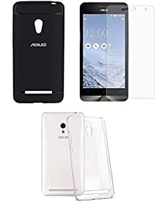 NIROSHA Tempered Glass Screen Guard Cover Case for ASUS Zenfone 5 - Combo