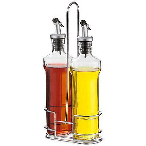 12 OZ, Clear Glass Cruets with Clip Spout Lid & Wire Caddy, 3 Pieces (Clip Spout Lid compare prices)