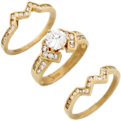 14ct Yellow Real Gold White CZ Stylish Triplet Wedding Womens Ring Trio