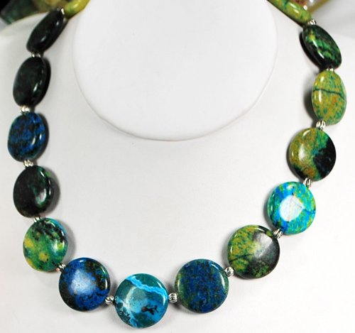 Blue/Green Chrysocolla Beads Silver Necklace N1_0911_57