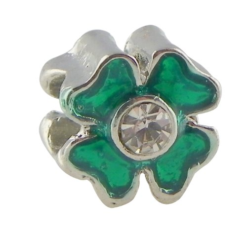 Silver 4 Leaf Green Clover with Crystal Accent St Patricks Day and Irish Charm Fits All Brands Charm Bracelets: Pugster, Troll, Biagi, Chamilla and Pandora Picture