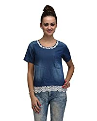 IRALZO Denim Top With Scalloped Lace On The Bottom Edge