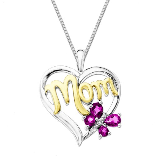 XPY Created Pink Sapphire and Diamond-Accent Butterfly Mom Heart Pendant Necklace, 18