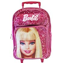 Fashion Barbie Girls Backpack- Full size Barbie Rolling Backpack