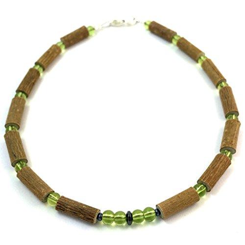 """Hazelaid (TM) Child Hazelwood-Gemstone Necklace - 13.5"""" Green Peridot - 1"""