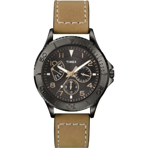 Classic-Mens-Quartz-Watch-with-Black-Dial-Analogue-Display-and-Brown-Leather-St