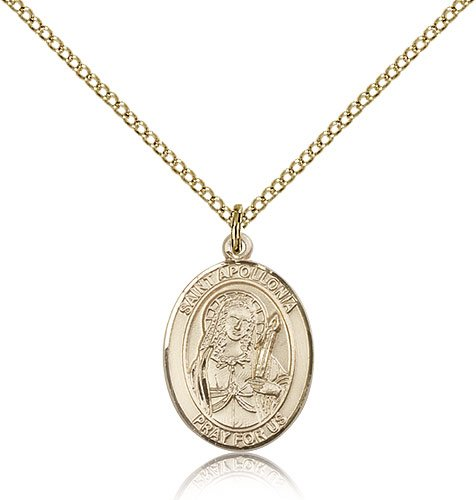 "Free Engraving Included Medal-Gold Filled St. Saint Apollonia Pendant 3/4"" 8005Gf--W/18"" Chain W/Box Dental Diseases"