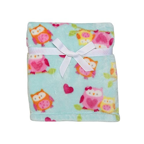 """30"""" x 40"""" Turquoise Owls Silky Soft Velour Baby Blanket from Baby Starter - 1"""