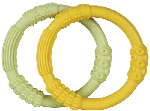 Lifefactory Multi Sensory Silicone Teether, 2-pack, Yellow/Spring Green (Discontinued by Manufacturer)