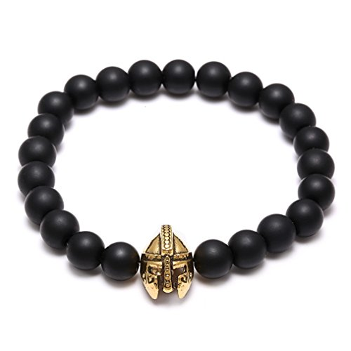 [Natural frosted beads matte agate string Retro helmet soldier man bracelet to Rome] (Arrest Shoes Adult)