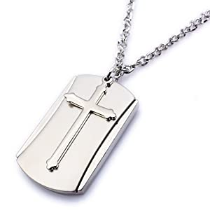 K Mega Jewelry Army Style Cool Silver Colour Cross Beauty Dog Tag Mens Pendant Necklace