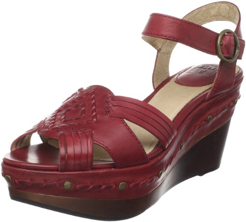 Frye Women's Carlie Huarache Ankle Red Wedge Heels 73845 7 UK